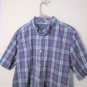Pink and Blue Plaid Short Sleeve Button Down